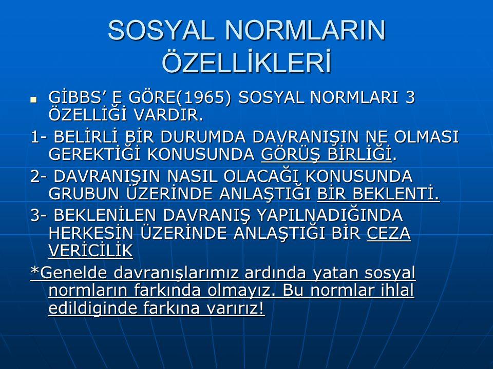 SOSYAL NORMLARIN ÖZELLİKLERİ  GİBBS' E GÖRE(1965) SOSYAL NORMLARI 3 ÖZELLİĞİ VARDIR.