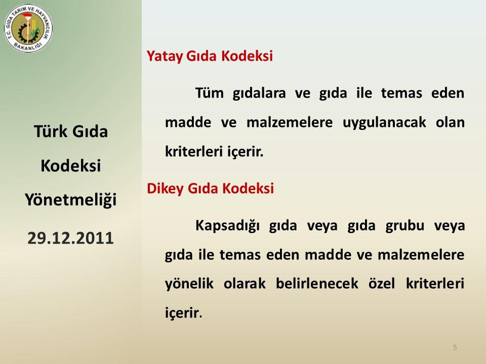 Türk Gıda Kodeksi Yönetmeliği 29.12.2011 5 Yatay Gıda Kodeksi Tüm gıdalara ve gıda ile temas eden madde ve malzemelere uygulanacak olan kriterleri içerir.