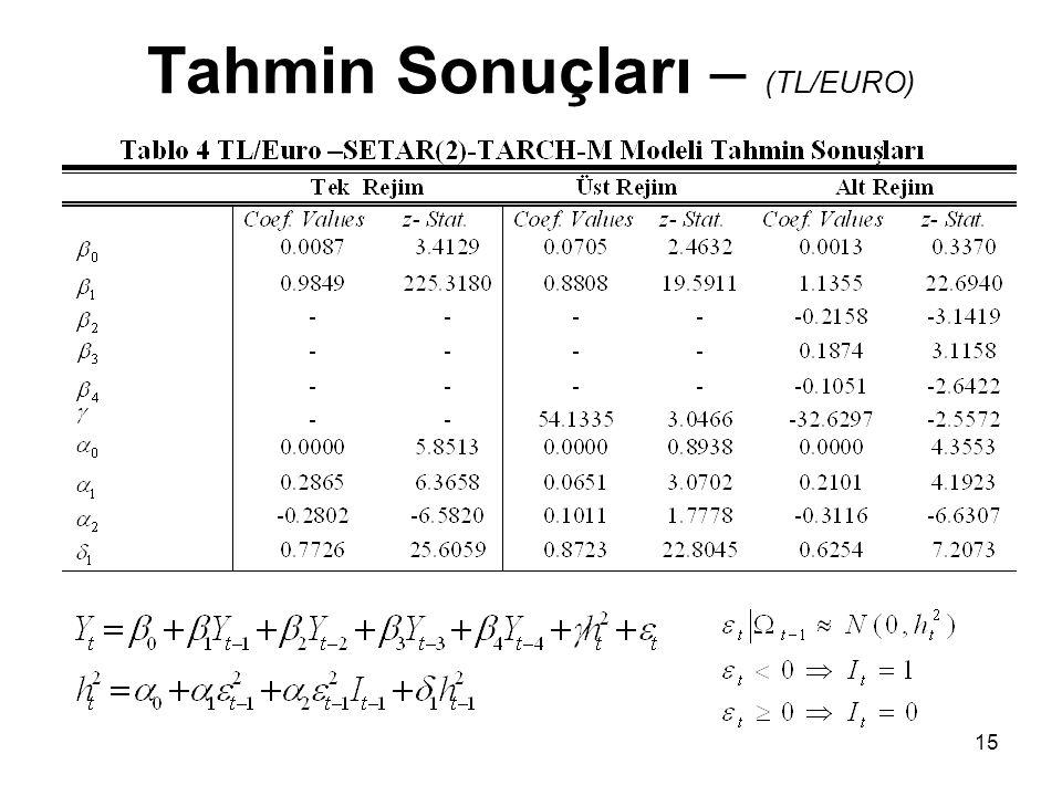 15 Tahmin Sonuçları – (TL/EURO)