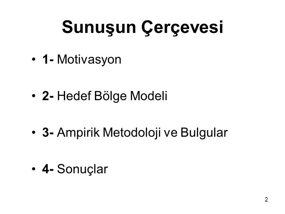 2 Sunuşun Çerçevesi •1- Motivasyon •2- Hedef Bölge Modeli •3- Ampirik Metodoloji ve Bulgular •4- Sonuçlar
