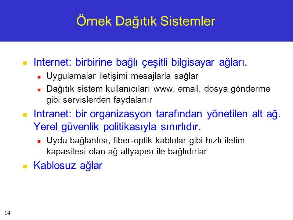 14 Örnek Dağıtık Sistemler  Internet: birbirine bağlı çeşitli bilgisayar ağları.  Uygulamalar iletişimi mesajlarla sağlar  Dağıtık sistem kullanıcı