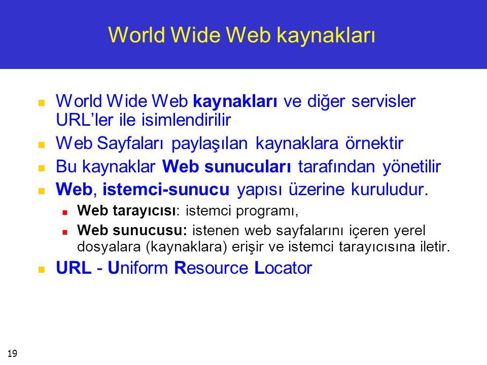 19 World Wide Web kaynakları  World Wide Web kaynakları ve diğer servisler URL'ler ile isimlendirilir  Web Sayfaları paylaşılan kaynaklara örnektir