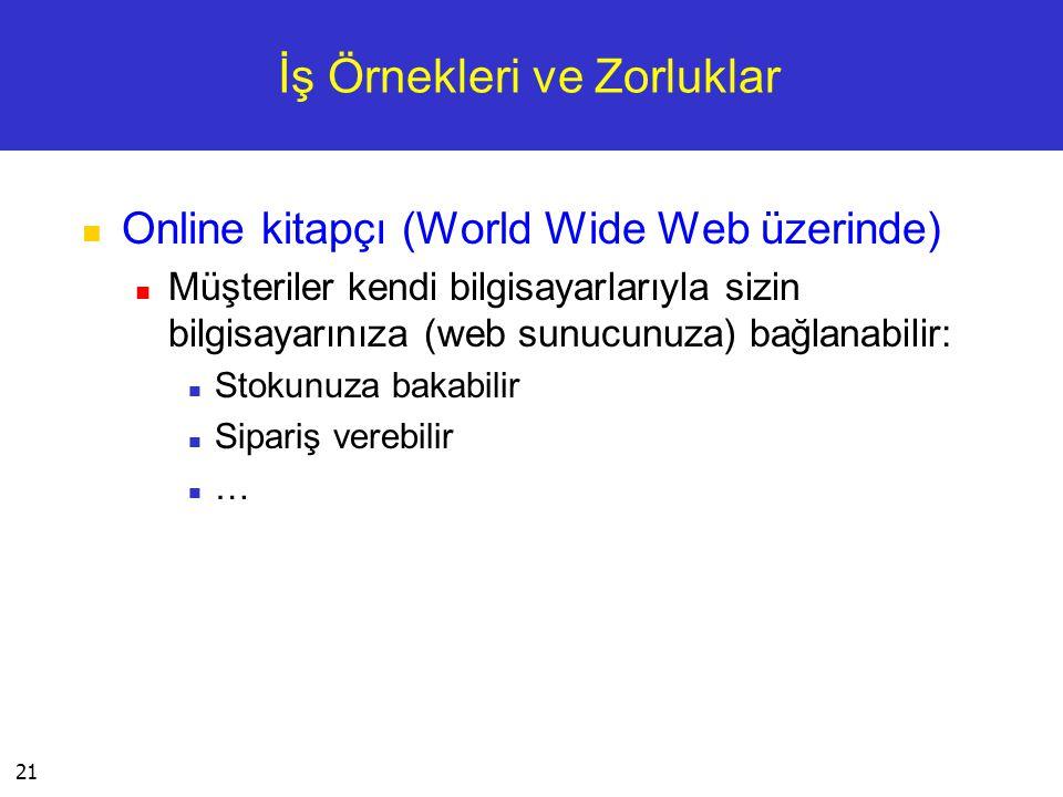 21 İş Örnekleri ve Zorluklar  Online kitapçı (World Wide Web üzerinde)  Müşteriler kendi bilgisayarlarıyla sizin bilgisayarınıza (web sunucunuza) ba