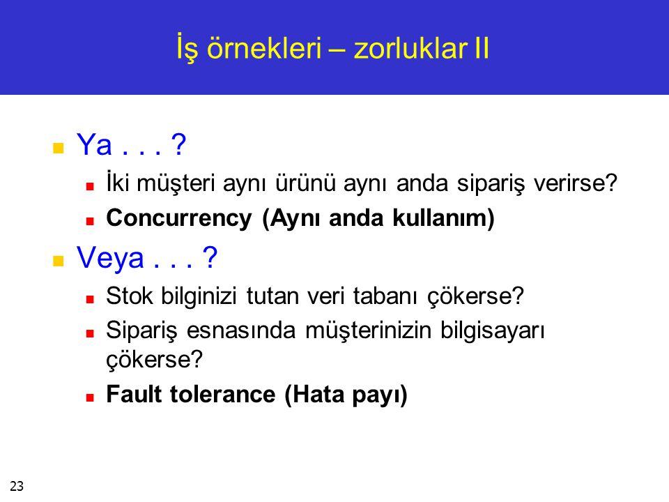 23 İş örnekleri – zorluklar II  Ya... ?  İki müşteri aynı ürünü aynı anda sipariş verirse?  Concurrency (Aynı anda kullanım)  Veya... ?  Stok bil