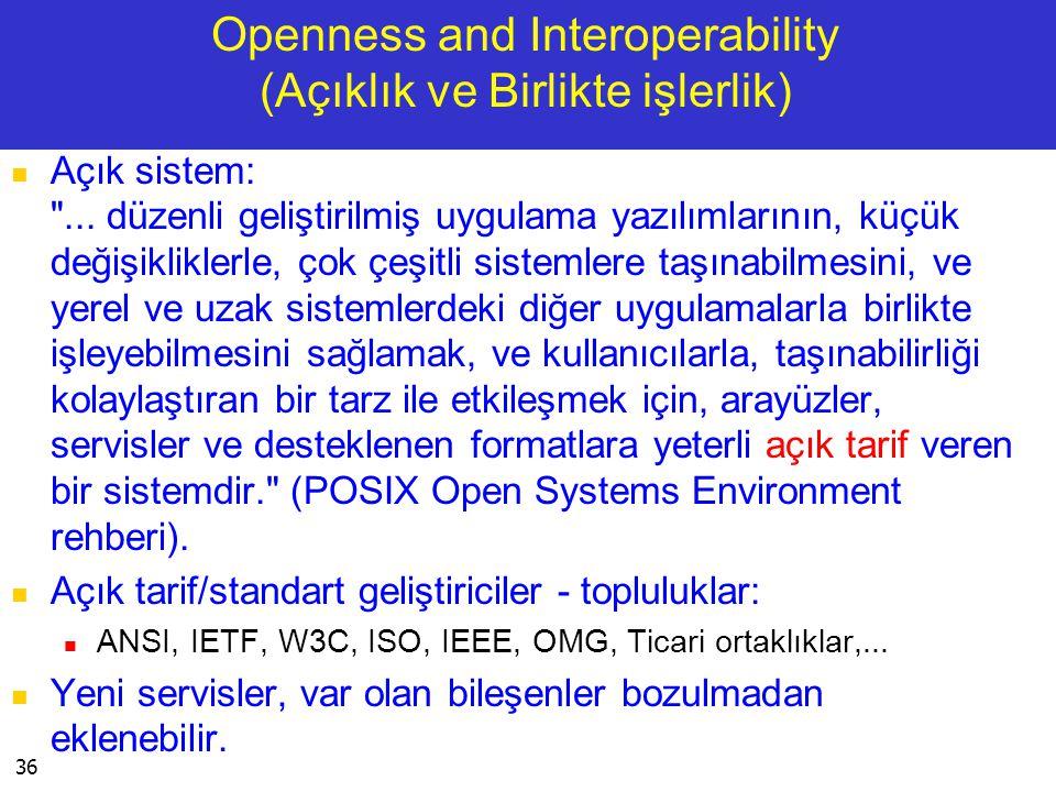36 Openness and Interoperability (Açıklık ve Birlikte işlerlik)  Açık sistem: