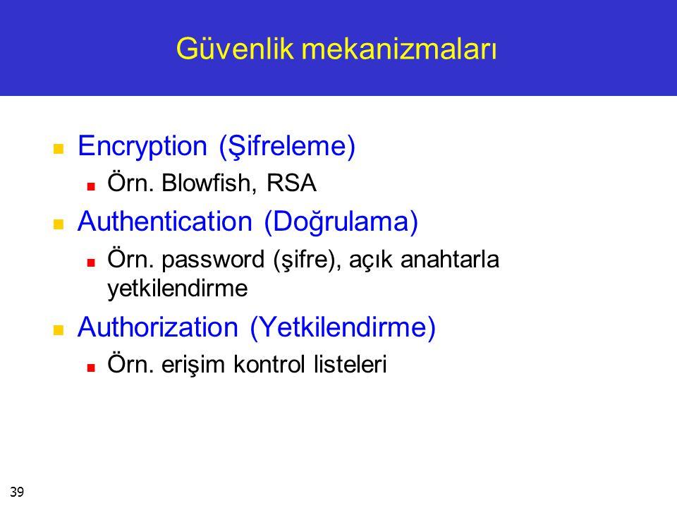 39 Güvenlik mekanizmaları  Encryption (Şifreleme)  Örn. Blowfish, RSA  Authentication (Doğrulama)  Örn. password (şifre), açık anahtarla yetkilend