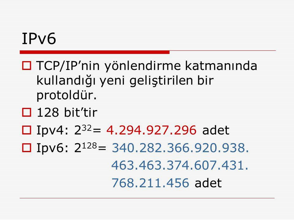 IPv6  TCP/IP'nin yönlendirme katmanında kullandığı yeni geliştirilen bir protoldür.  128 bit'tir  Ipv4: 2 32 = 4.294.927.296 adet  Ipv6: 2 128 = 3