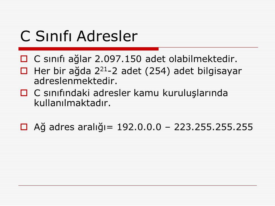 C Sınıfı Adresler  C sınıfı ağlar 2.097.150 adet olabilmektedir.  Her bir ağda 2 21 -2 adet (254) adet bilgisayar adreslenmektedir.  C sınıfındaki