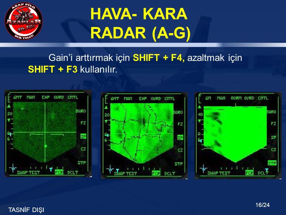 TASNİF DIŞI HAVA- KARA RADAR (A-G) 16/24 Gain'i arttırmak için SHIFT + F4, azaltmak için SHIFT + F3 kullanılır.