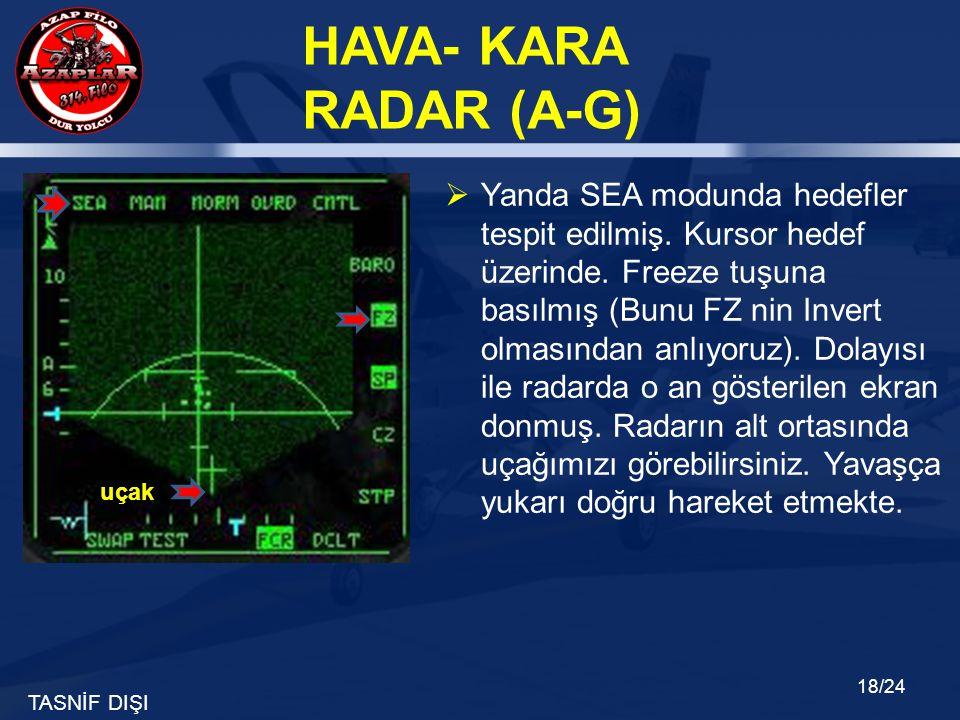 TASNİF DIŞI HAVA- KARA RADAR (A-G) 18/24  Yanda SEA modunda hedefler tespit edilmiş. Kursor hedef üzerinde. Freeze tuşuna basılmış (Bunu FZ nin Inver
