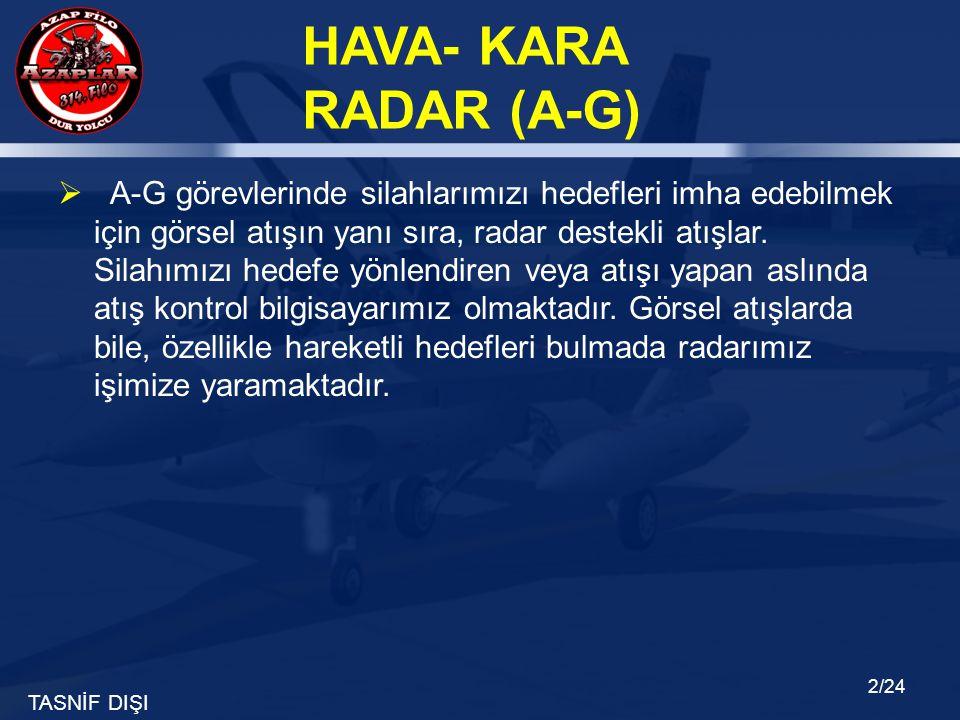 TASNİF DIŞI HAVA- KARA RADAR (A-G) 2/24  A-G görevlerinde silahlarımızı hedefleri imha edebilmek için görsel atışın yanı sıra, radar destekli atışlar
