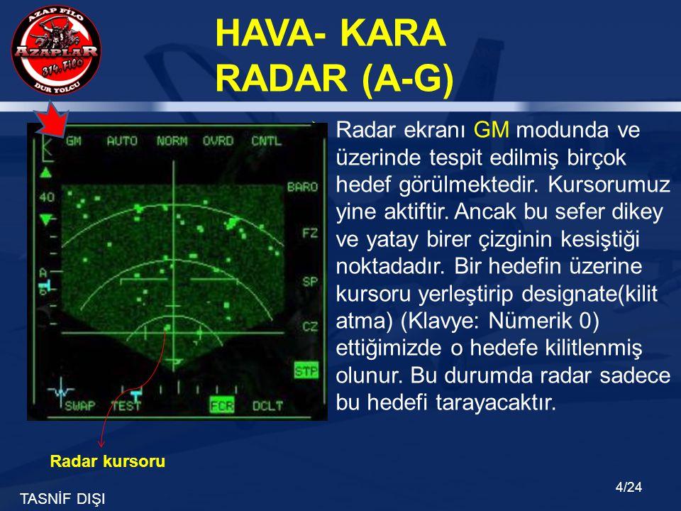 TASNİF DIŞI HAVA- KARA RADAR (A-G) 4/24  Radar ekranı GM modunda ve üzerinde tespit edilmiş birçok hedef görülmektedir. Kursorumuz yine aktiftir. Anc