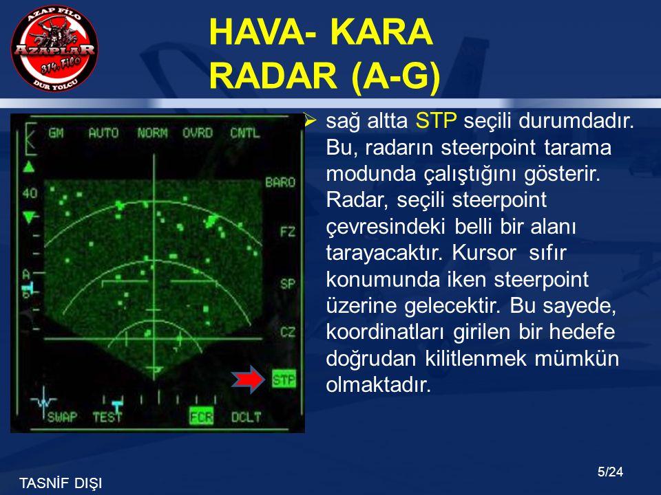 TASNİF DIŞI HAVA- KARA RADAR (A-G) 5/24  sağ altta STP seçili durumdadır. Bu, radarın steerpoint tarama modunda çalıştığını gösterir. Radar, seçili s