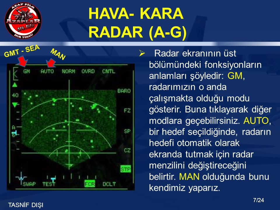 TASNİF DIŞI HAVA- KARA RADAR (A-G) 7/24  Radar ekranının üst bölümündeki fonksiyonların anlamları şöyledir: GM, radarımızın o anda çalışmakta olduğu