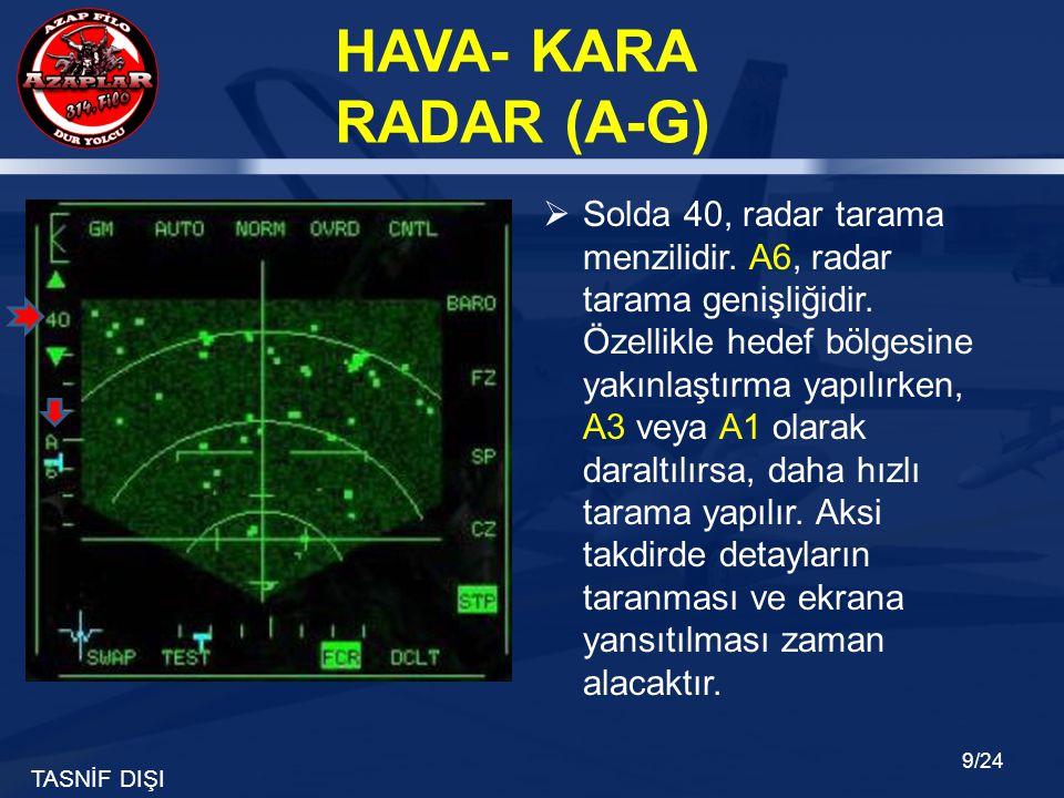 TASNİF DIŞI HAVA- KARA RADAR (A-G) 9/24  Solda 40, radar tarama menzilidir. A6, radar tarama genişliğidir. Özellikle hedef bölgesine yakınlaştırma ya