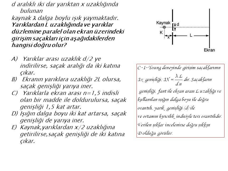 d aralıklı iki dar yarıktan x uzaklığında bulunan kaynak  dalga boylu ışık yaymaktadır. Yarıklardan L uzaklığında ve yarıklar düzlemine paralel olan