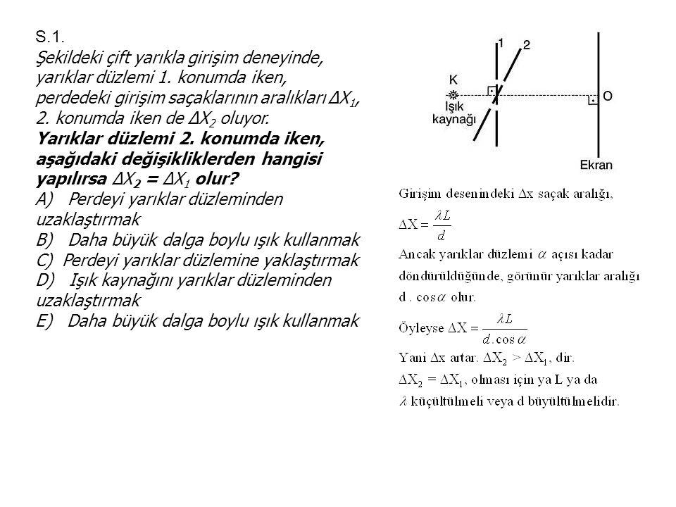 S.1. Şekildeki çift yarıkla girişim deneyinde, yarıklar düzlemi 1. konumda iken, perdedeki girişim saçaklarının aralıkları ΔΧ 1, 2. konumda iken de ΔΧ