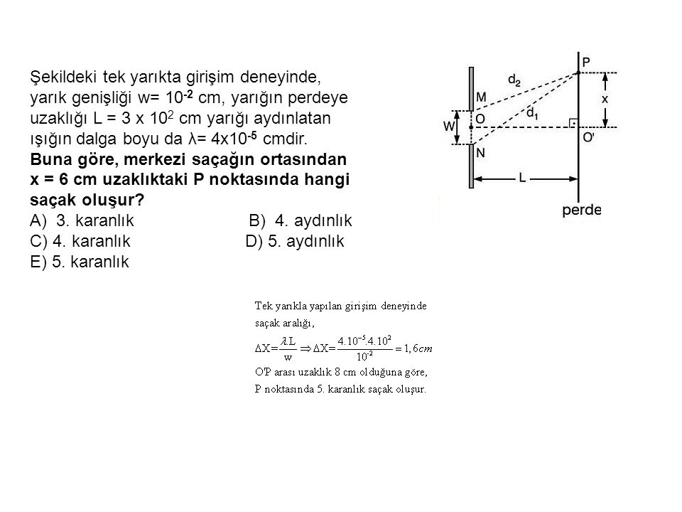 Şekildeki tek yarıkta girişim deneyinde, yarık genişliği w= 10 -2 cm, yarığın perdeye uzaklığı L = 3 x 10 2 cm yarığı aydınlatan ışığın dalga boyu da λ= 4x10 -5 cmdir.
