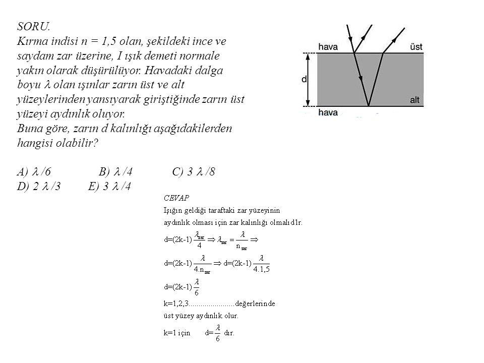 SORU. Kırma indisi n = 1,5 olan, şekildeki ince ve saydam zar üzerine, I ışık demeti normale yakın olarak düşürülüyor. Havadaki dalga boyu  olan ışın