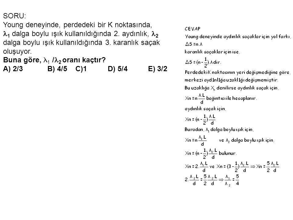 SORU: Young deneyinde, perdedeki bir K noktasında,  1 dalga boylu ışık kullanıldığında 2.