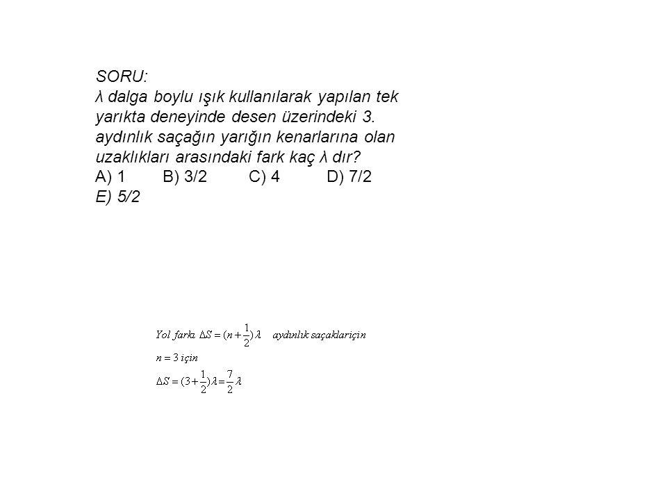 SORU: λ dalga boylu ışık kullanılarak yapılan tek yarıkta deneyinde desen üzerindeki 3. aydınlık saçağın yarığın kenarlarına olan uzaklıkları arasında