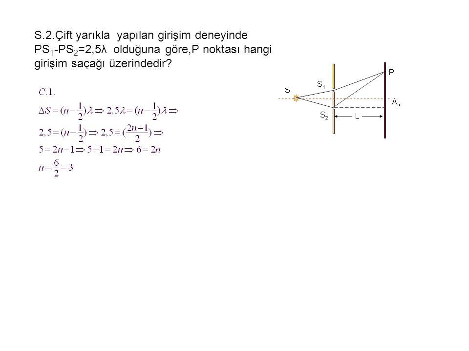 S.2.Çift yarıkla yapılan girişim deneyinde PS 1 -PS 2 =2,5λ olduğuna göre,P noktası hangi girişim saçağı üzerindedir?