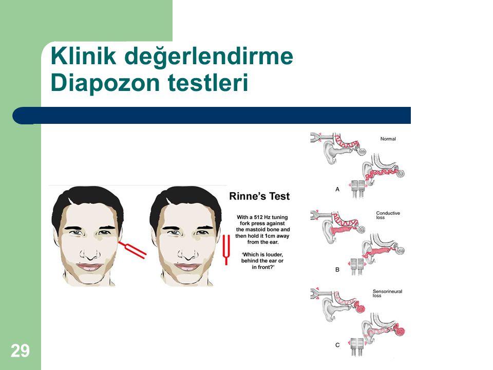 Klinik değerlendirme Diapozon testleri 29