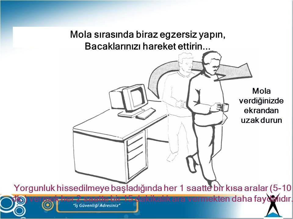 Mola verdiğinizde ekrandan uzak durun Yorgunluk hissedilmeye başladığında her 1 saatte bir kısa aralar (5-10 dk.) vermek her 2 saatte bir 15 dakikalık