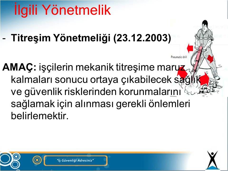 İlgili Yönetmelik -Titreşim Yönetmeliği (23.12.2003) AMAÇ: işçilerin mekanik titreşime maruz kalmaları sonucu ortaya çıkabilecek sağlık ve güvenlik ri