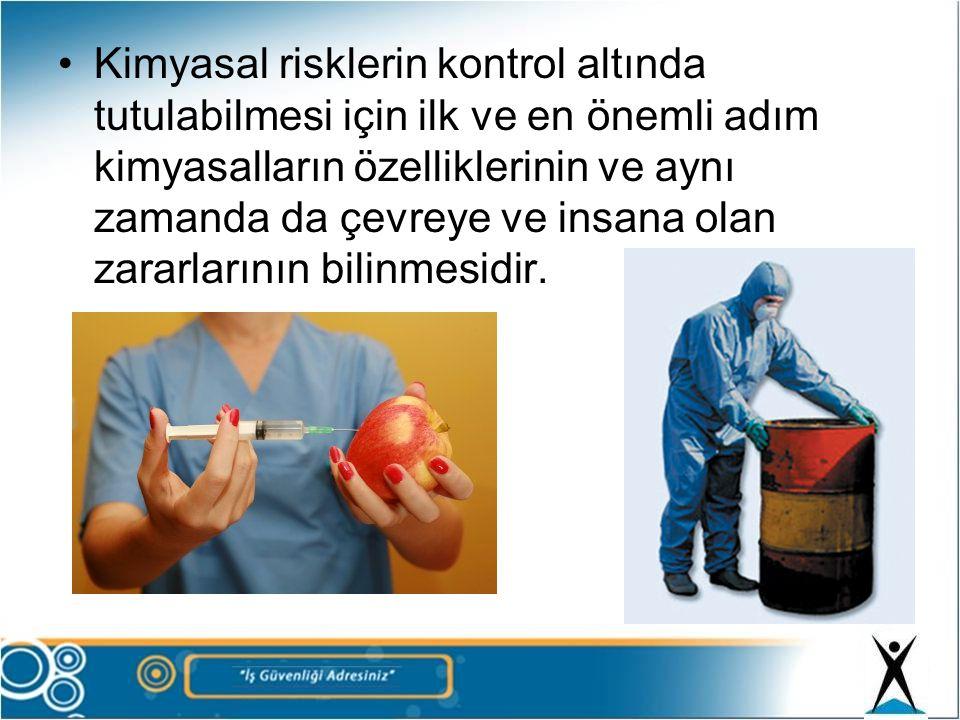 Kimyasallar tehlikeli sınıflarda adlandırılır.Bu kimyasallar için kriterleri uluslar arası düzenlemelerle belirlenmiş •Etiketleme •Malzeme Güvenlik Bilgi Formları(MSDS) hazırlama zorunluluğu getirilmektedir.