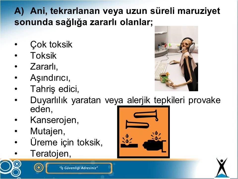 A)Ani, tekrarlanan veya uzun süreli maruziyet sonunda sağlığa zararlı olanlar; •Çok toksik •Toksik •Zararlı, •Aşındırıcı, •Tahriş edici, •Duyarlılık y