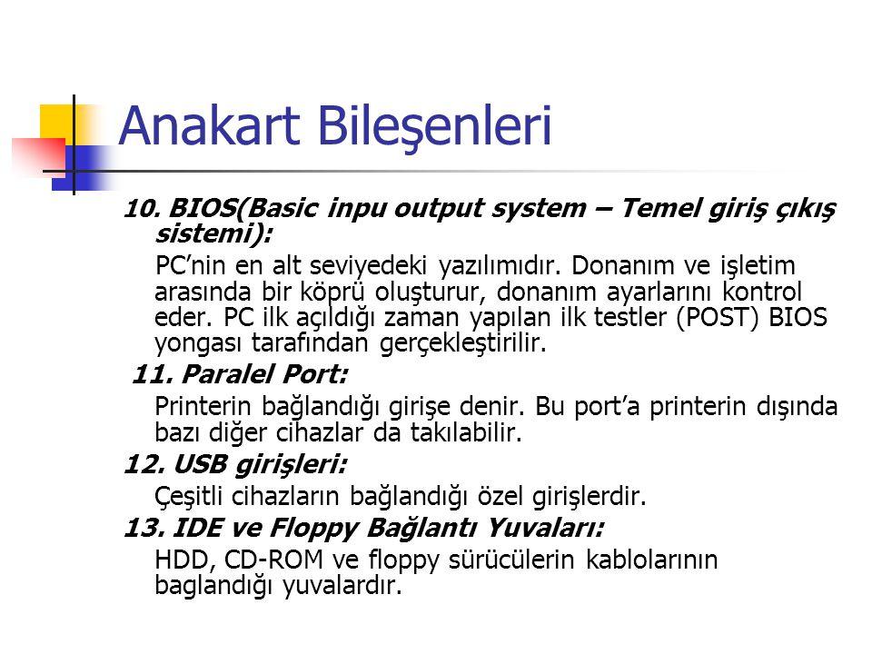 Anakart Bileşenleri 10. BIOS(Basic inpu output system – Temel giriş çıkış sistemi): PC'nin en alt seviyedeki yazılımıdır. Donanım ve işletim arasında