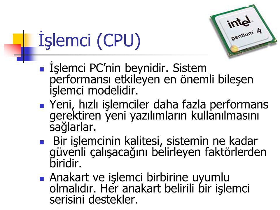İşlemci (CPU)  İşlemci PC'nin beynidir. Sistem performansı etkileyen en önemli bileşen işlemci modelidir.  Yeni, hızlı işlemciler daha fazla perform