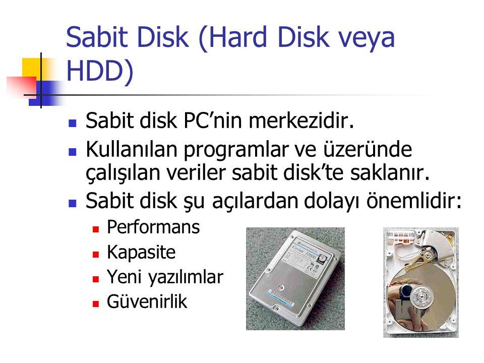 Sabit Disk (Hard Disk veya HDD)  Sabit disk PC'nin merkezidir.  Kullanılan programlar ve üzeründe çalışılan veriler sabit disk'te saklanır.  Sabit