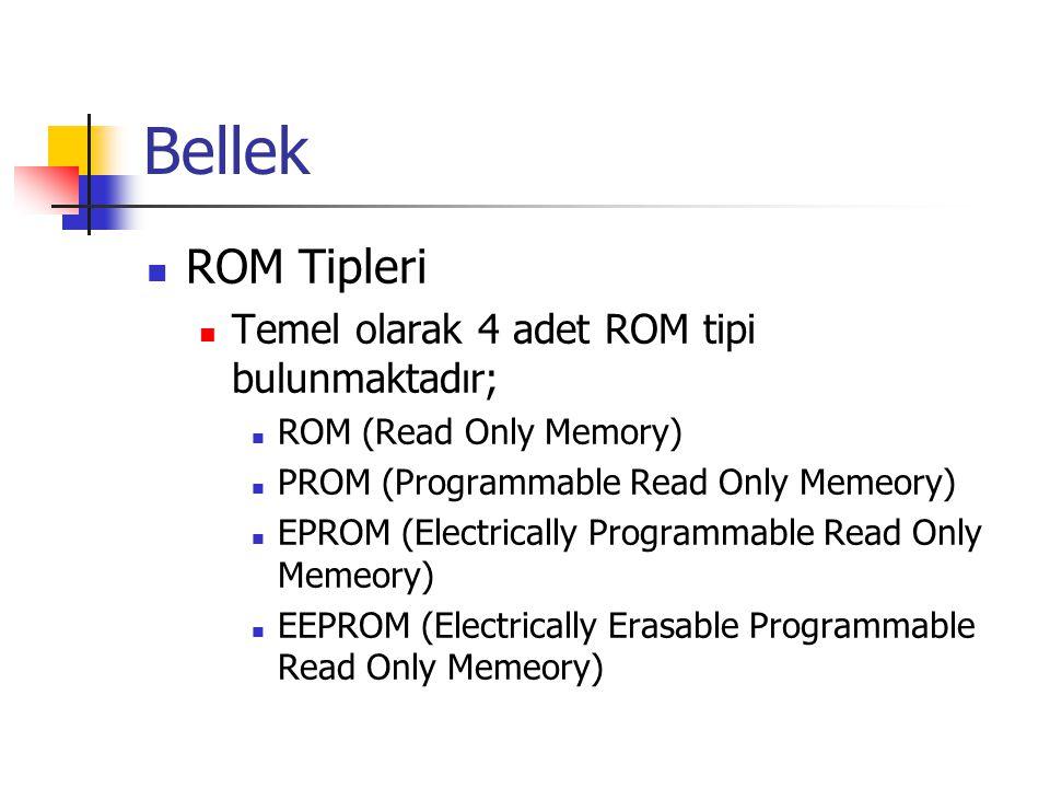 Bellek  ROM Tipleri  Temel olarak 4 adet ROM tipi bulunmaktadır;  ROM (Read Only Memory)  PROM (Programmable Read Only Memeory)  EPROM (Electrically Programmable Read Only Memeory)  EEPROM (Electrically Erasable Programmable Read Only Memeory)