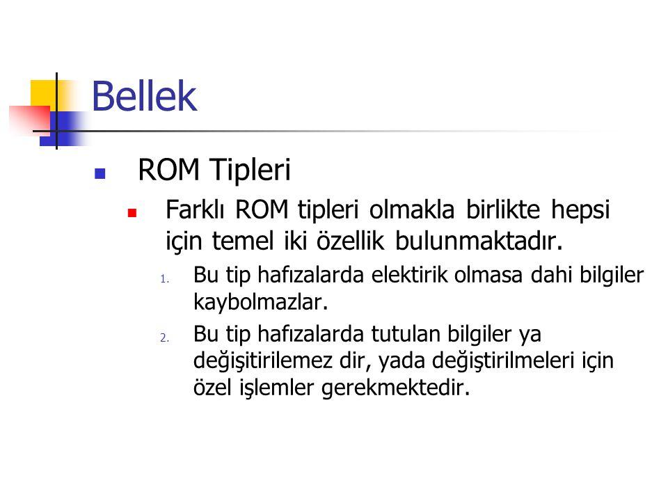 Bellek  ROM Tipleri  Farklı ROM tipleri olmakla birlikte hepsi için temel iki özellik bulunmaktadır. 1. Bu tip hafızalarda elektirik olmasa dahi bil