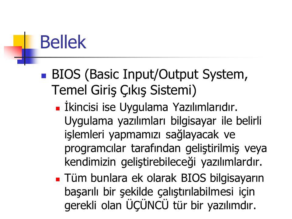Bellek  BIOS (Basic Input/Output System, Temel Giriş Çıkış Sistemi)  İkincisi ise Uygulama Yazılımlarıdır. Uygulama yazılımları bilgisayar ile belir