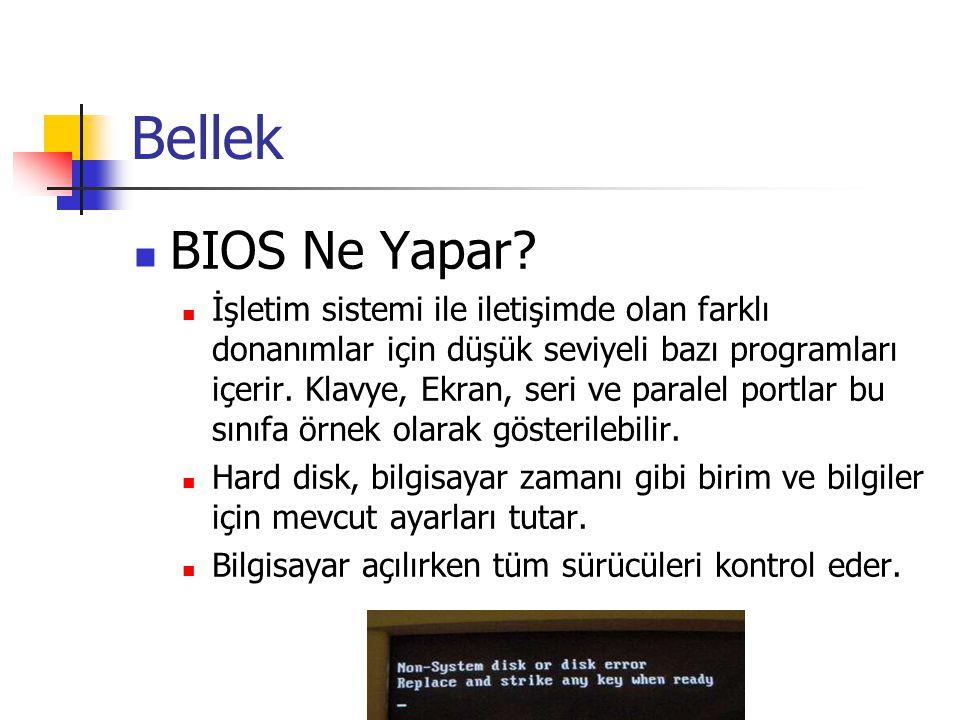 Bellek  BIOS Ne Yapar?  İşletim sistemi ile iletişimde olan farklı donanımlar için düşük seviyeli bazı programları içerir. Klavye, Ekran, seri ve pa