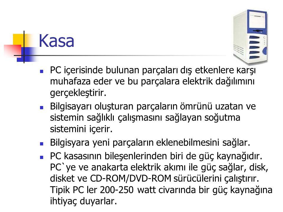 Kasa  PC içerisinde bulunan parçaları dış etkenlere karşı muhafaza eder ve bu parçalara elektrik dağılımını gerçekleştirir.  Bilgisayarı oluşturan p