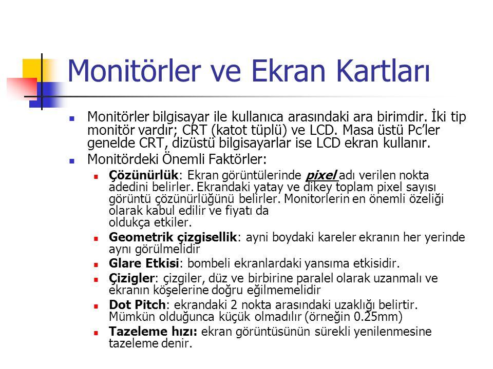Monitörler ve Ekran Kartları  Monitörler bilgisayar ile kullanıca arasındaki ara birimdir. İki tip monitör vardır; CRT (katot tüplü) ve LCD. Masa üst