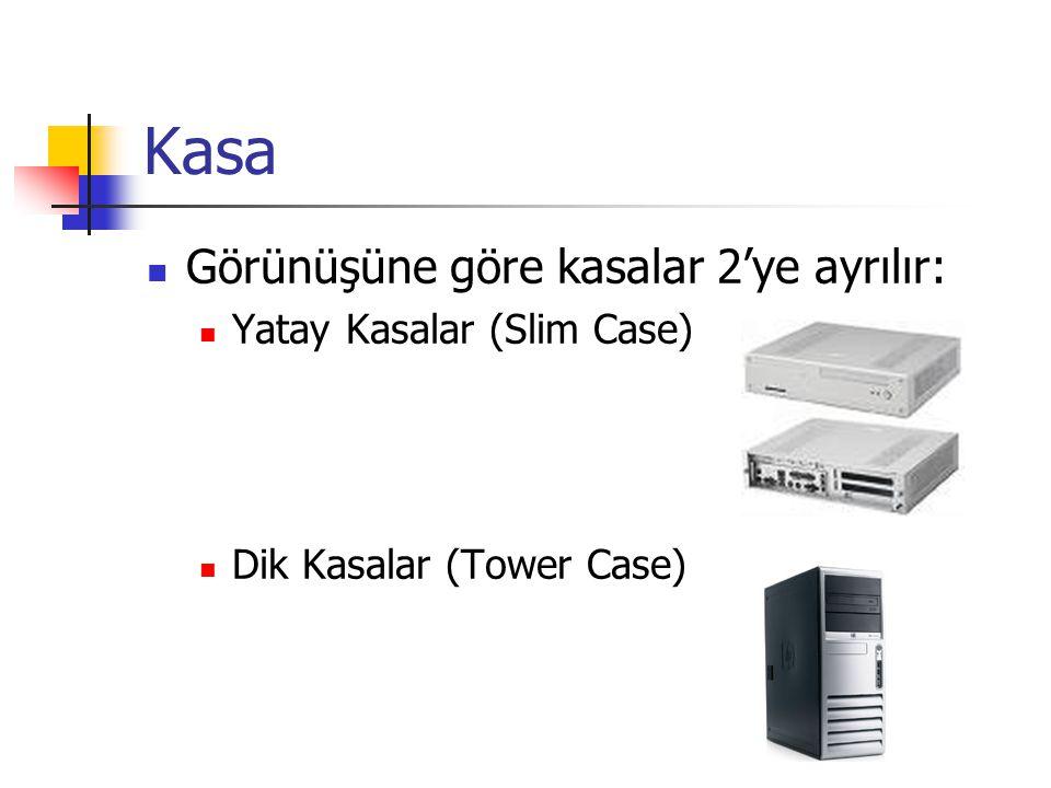 Kasa  Görünüşüne göre kasalar 2'ye ayrılır:  Yatay Kasalar (Slim Case)  Dik Kasalar (Tower Case)