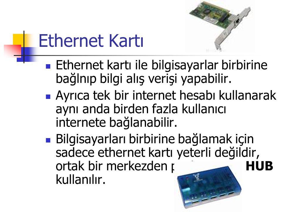 Ethernet Kartı  Ethernet kartı ile bilgisayarlar birbirine bağlnıp bilgi alış verişi yapabilir.  Ayrıca tek bir internet hesabı kullanarak aynı anda