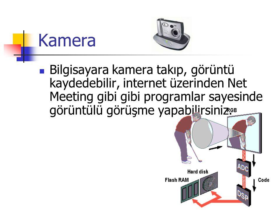 Kamera  Bilgisayara kamera takıp, görüntü kaydedebilir, internet üzerinden Net Meeting gibi gibi programlar sayesinde görüntülü görüşme yapabilirsini