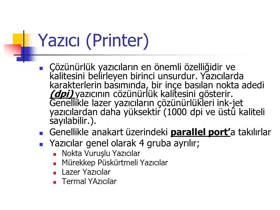 Yazıcı (Printer)  Çözünürlük yazıcıların en önemli özelliğidir ve kalitesini belirleyen birinci unsurdur. Yazıcılarda karakterlerin basımında, bir in