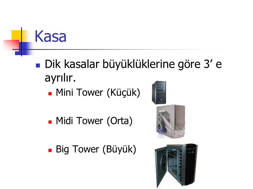 Kasa  Dik kasalar büyüklüklerine göre 3' e ayrılır.  Mini Tower (Küçük)  Midi Tower (Orta)  Big Tower (Büyük)