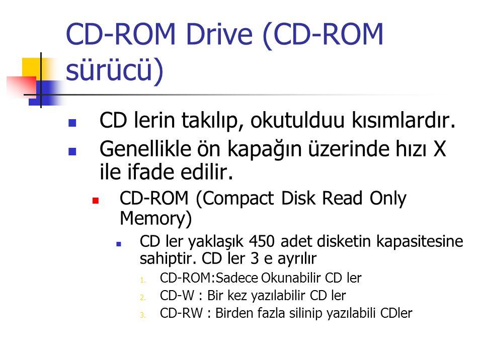 CD-ROM Drive (CD-ROM sürücü)  CD lerin takılıp, okutulduu kısımlardır.  Genellikle ön kapağın üzerinde hızı X ile ifade edilir.  CD-ROM (Compact Di