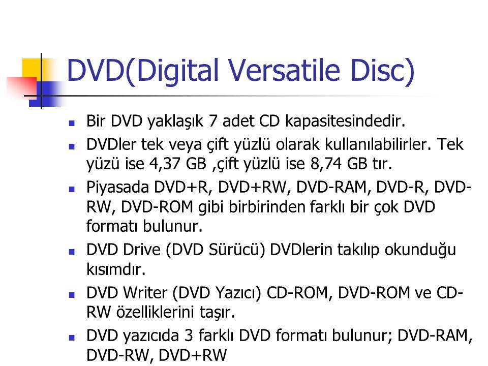 DVD(Digital Versatile Disc)  Bir DVD yaklaşık 7 adet CD kapasitesindedir.