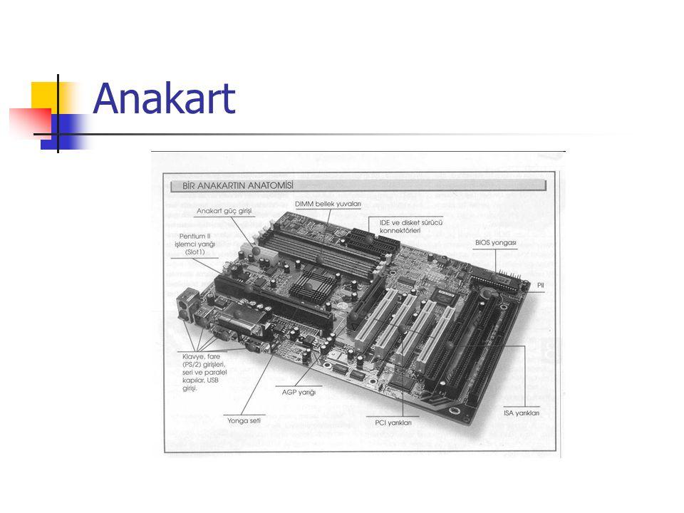 Bellek  Boyutuna Göre RAM Türleri  30 Pin SIMM Bellek (Çok eski, artık kullanılmıyor)  72 Pin SIMM Bellek (Boyut:110mm, Voltaj:5V, VeriGenişliği: 4byte)  168 Pin DIMM Bellek (Boyut:133,3mm, Voltaj:3,3V, VeriGenişliği: 8byte)