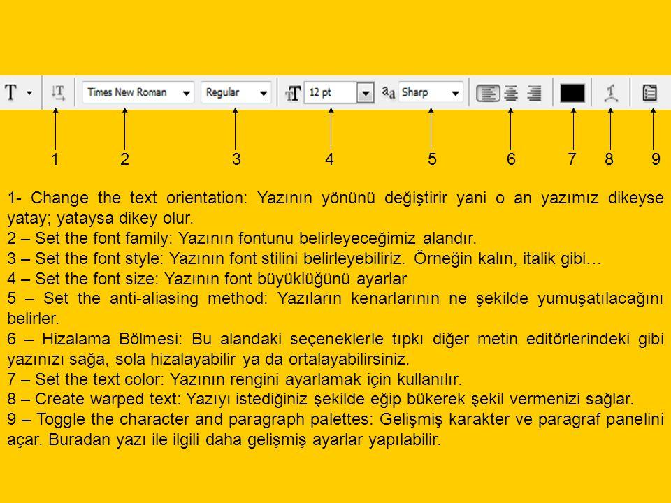 1- Change the text orientation: Yazının yönünü değiştirir yani o an yazımız dikeyse yatay; yataysa dikey olur. 2 – Set the font family: Yazının fontun