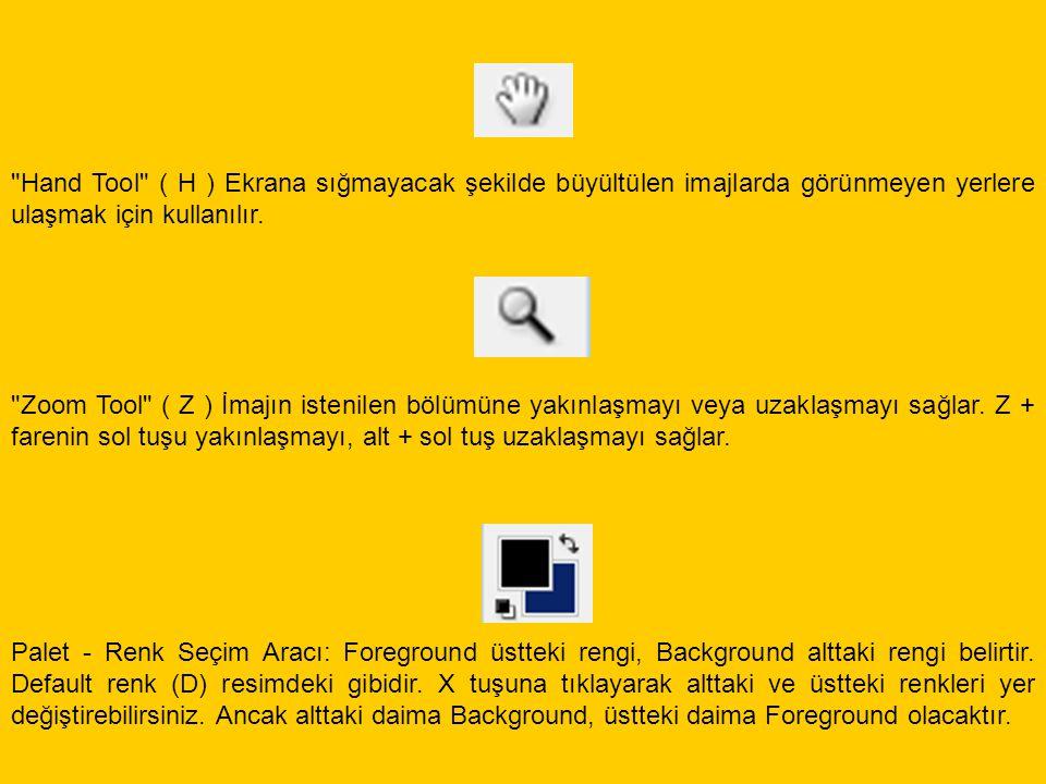 Palet - Renk Seçim Aracı: Foreground üstteki rengi, Background alttaki rengi belirtir. Default renk (D) resimdeki gibidir. X tuşuna tıklayarak alttaki